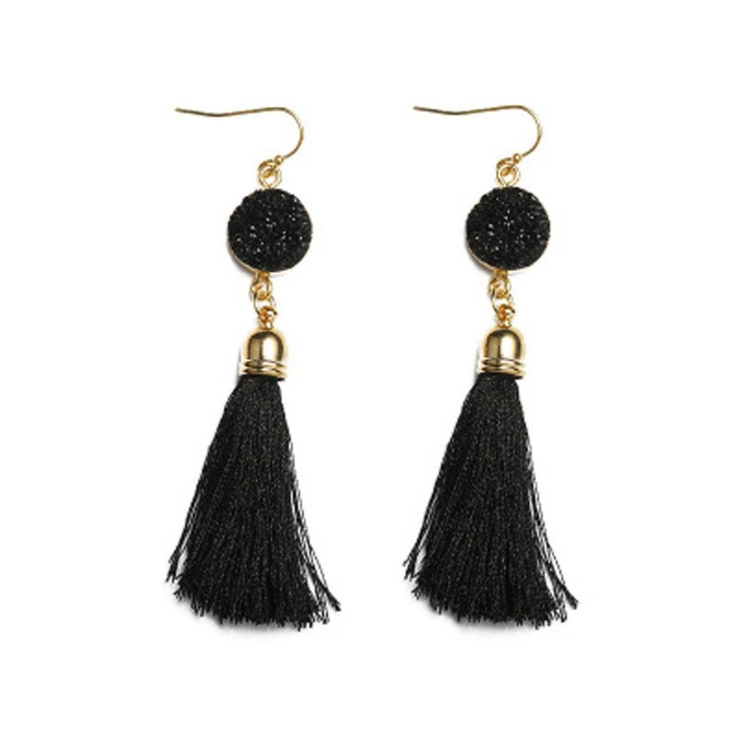 Beuu Super Low-Cost Tassel Resin Earrings Vintage Style Rhinestones Crystal Dangle Stud Fashion Jewelry (A)