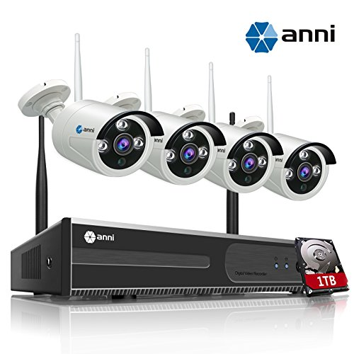 (anni 4CH 720P HD Wireless Security CCTV Surveillance Camera, WiFi NVR Kit and (4) 1.0MP Megapixel Wireless Indoor Outdoor Bullet IP Cameras, P2P, 65ft Night Vision with 1TB Hard Drive )