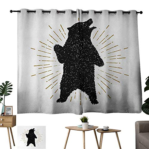 WinfreyDecor Bear Blackout Curtains Sketch of Tribal Icon with Roaring Grizzly Bear and Sunburst Effect Vintage Wildlife Privacy Protection 55