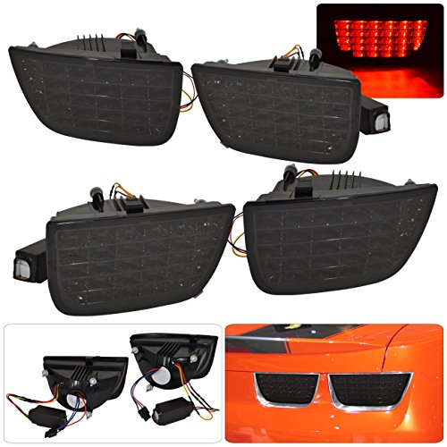Chevrolet Chevy Camaro SS LT RS 4 Piece Sequential Signal Lamps LED Rear Tail Lights Light Lamps Lamp 2010 2011 2012 2013 10 11 12 13 (Smoke)