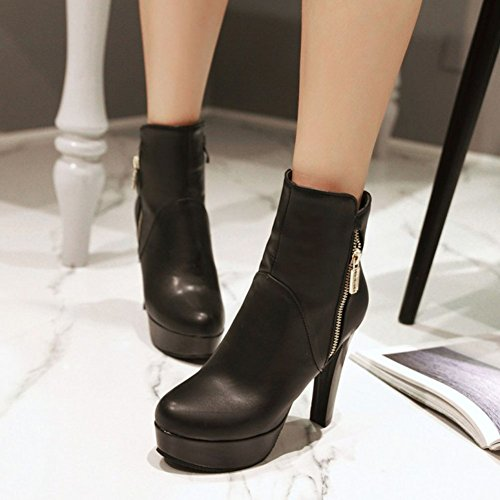 Solid High Womens CHFSO Toe Martin Chunky Boots Zipper Round Platform Classic Ankle Heel Black Y4ExRfw