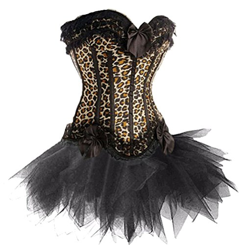 Chenyi Women's Lace Up Burlesque Floral Boned Corset Dress Overbust Waist Bustier With Tutu Skirt Costume Set Leopard ()