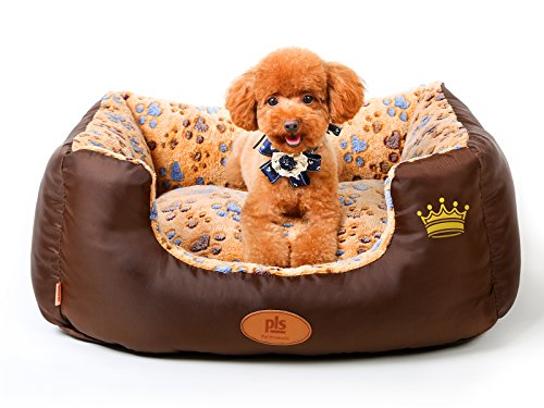 Aspen Bed - PLS BIRDSONG SweetSpot Bolster Dog Bed (Small 20Wx24L - Paw Print Edition), Dog bed for Small Dogs, Well-padded, Completely Removable Cover with Zipper, Machine Washable