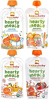Happy Baby Organic Baby Food Stage 3 Hearty Meals Variety Pack, 4 oz Pouches, 16-Count