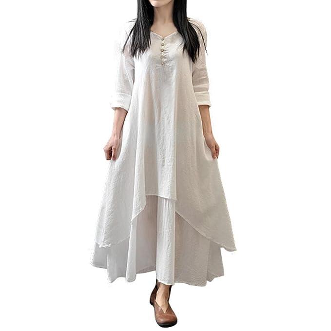 Mujer Casual Suelto Manga larga Lino Vestir, WINWINTOM Boho Largo Fiesta Maxi Vestido (M