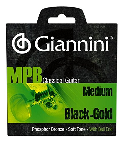 Giannini GENWBG MPB Brazilian Jazz Classical Guitar Phosphor Bronze/Black Nylon with Ball End Strings