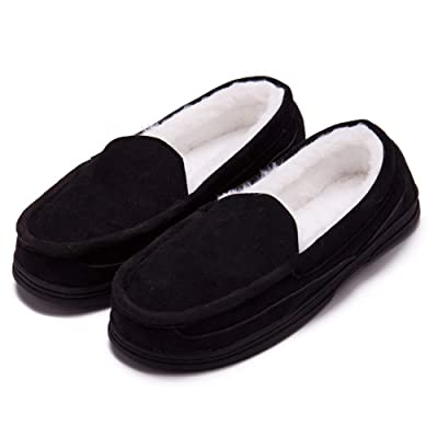 Men's Wool Memory Foam Micro Suede Moccasin Slippers House Shoes Indoor Outdoor Anti-Skid Rubber Sole(Medium /10 D(M) US, Black) | Slippers