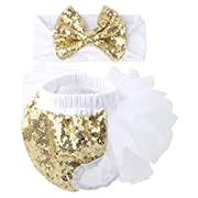 Slowera Baby Girls 2PCS Sets Cotton Tulle Sequins Diaper Cover Bloomers and Headband (White Gold, S: 0-6 Months)