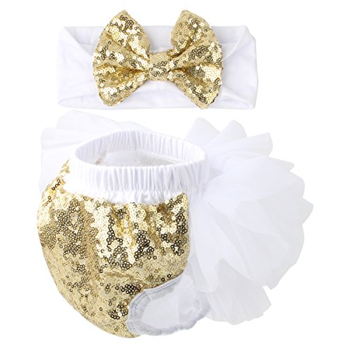 Slowera Baby Girls 2PCS Sets Cotton Tulle Sequins Diaper Cover Bloomers and Headband (White Gold, L: 12-24 - A Pic Butt A Of