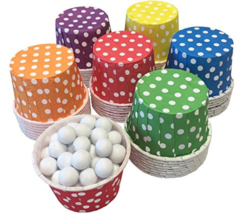 Rainbow Theme Candy/Nut MINI Baking Paper Treat Cups - Red Yellow Blue Green Purple Orange - Polka Dot - 48 Pack -