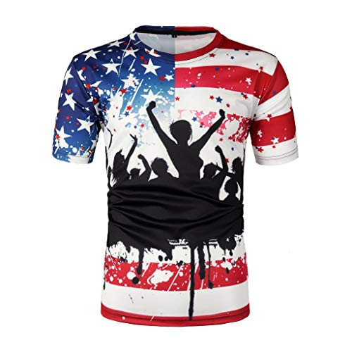 (NIKAIRALEY T-Shirt Men's Funny Tees Independence Day 3D Printed Cool Graphic Short Sves Cool T-Shirts Flag Print Tops)