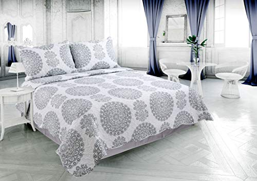 Beauty Sleep Bedding Rich Printed 3 Pieces Luxury Quilt Set with 2 Quilted Shams, Flower and Circles Pattern, Gray and White Color, Queen Size