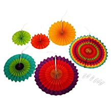 Set Of 6 Wedding Party Paper Garland Decor Hollowed Pinwheel Tissue Paper Fan Flower