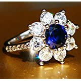 Sumanee New Blue Sapphire Birthstone 925 Silver Filled Wedding Bridal Loving Ring Gift (8)