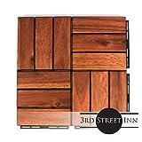 "Deck Tiles - Patio Pavers - Acacia Wood Outdoor Flooring - Interlocking Patio Tiles - 12""x12"" (10 Pack) - Oiled Acacia Finish - Checker Pattern Decking"