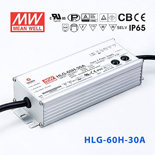 30vdc Output (Meanwell HLG-60H-30A Power Supply - 60W 30V 2A - IP65 - Adjustable Output)