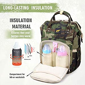 Diaper Bag for Men Dad Camo Nappy Bag Backpack Large Canvas Waterproof USB Mommy Bag for Baby Care Travel (Jungle…