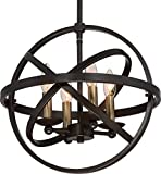 Luxury Vintage Chandelier, Medium Size: 14.25″H x 15″W, with Transitional Style Elements, Sphere Design, Brass Accented Elegant Estate Bronze Finish and Open Circles Shade, UQL2303 by Urban Ambiance