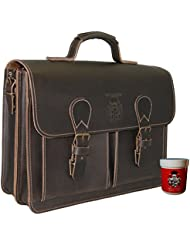 BARON of MALTZAHN Mens briefcase GALILEO 1 brown leather - Made in Germany - leather care included