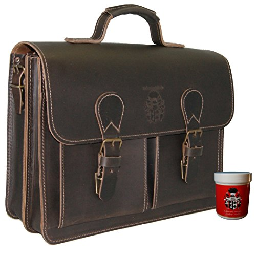 BARON of MALTZAHN Men's briefcase GALILEO 1 brown leather - Made in Germany - leather care included