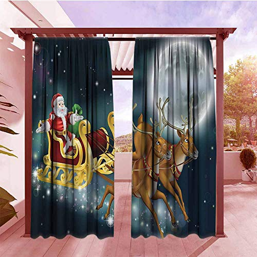 Curtains Rod Pocket Two Panels Christmas Decorations Collection Santa with Reindeer in Sledge Flying Dark Magical Starry Night with Full Moon Fantasy Hang with Rod Pocket/Clips W84x72L ()