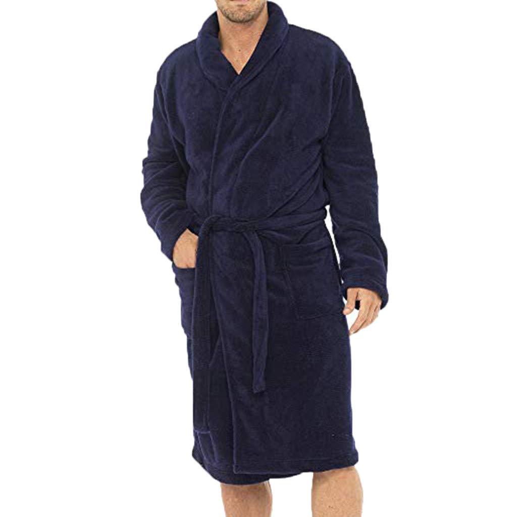Mens Winter Lengthened Plush Shawl Bathrobe Home Clothes Long Sleeved Robe Coat