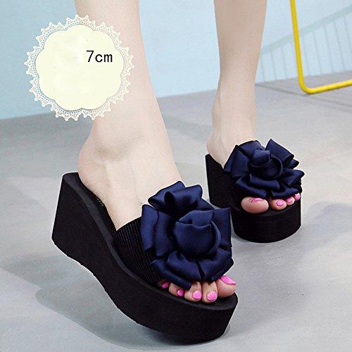 Tacón 7cm Altos Chanclas Las 7cm Zapatos Beige Fei Tacones Sandalias Para Antidérapant 42 Verano Alto De Tamaño Forme Años color 40 7cm Femeninas Del 18 Blue Zapatillas La Playa 5vxxwZq