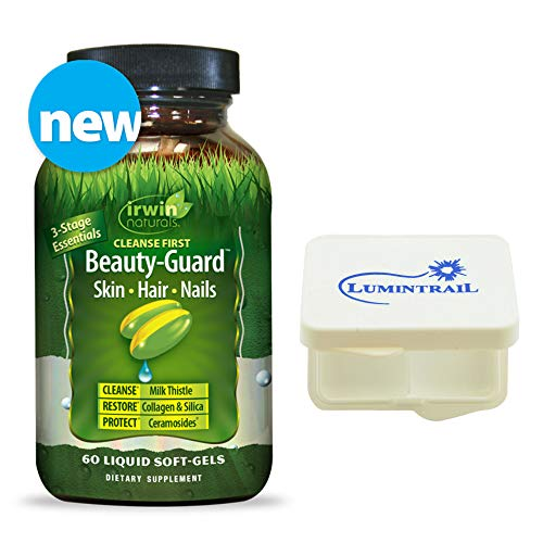 Irwin Naturals Beauty-Guard Skin Hair Nails - 60 Softgels (9707) Cleanse Restore Protect 3-Stage Essentials Supplement Bundle with a Lumintrail Pill Case