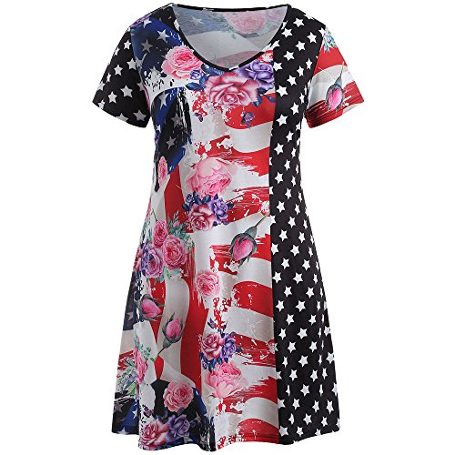 Large Size Womens US Flag Printing Short Sleeve Mini Dress Evening Party Dress Red