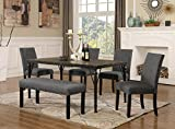 Kyпить Roundhill Furniture T163-C162GY-C162GY-CB162GY Biony 6-Piece Wood Dining Set with Nailhead Chairs and Bench, Grey на Amazon.com