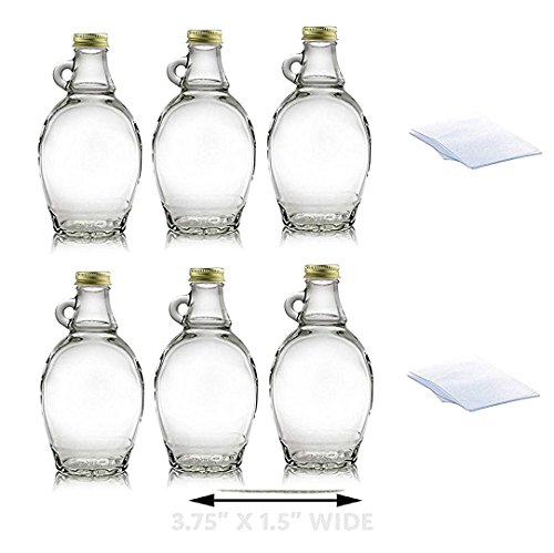 (Premium Vials, 8 Ounce, 6 Pack, Empty Glass Syrup Bottles with Shrink Bands For Canning, with Gold Metal Lids, Glass Maple Syrup Bottles)
