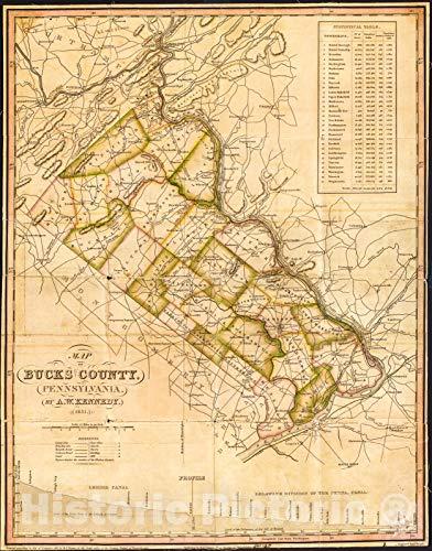 Historic 1831 Map   Map of Bucks County, Pennsylvania 35in x 44in
