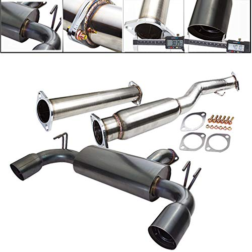 Fit 2008-2014 Mitsubishi Lancer Evolution X (10) 3 Inch Stainless Steel Catback Exhaust System 4 Inch Gun Metal Muffler -