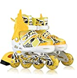 Oushen Button Adjustable Inline Skate for Kids (Yellow, M)