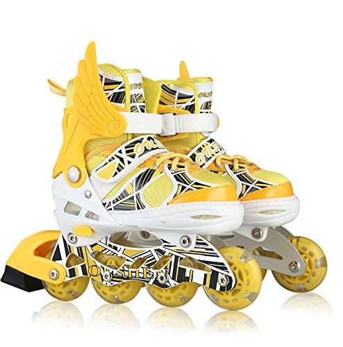 Oushen Button Adjustable Inline Skate for Kids (Yellow, M) by Oushen