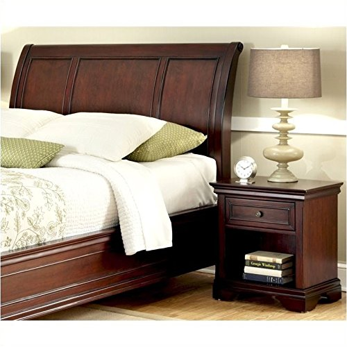 Bowery Hill Full Queen Sleigh Headboard and Nightstand in Espresso