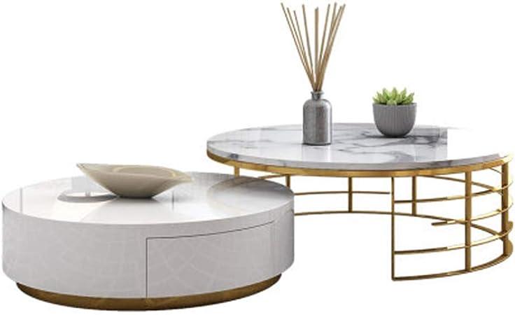 DGFTC-2 Altura de cóctel Mesa de Centro Mesa de Centro Industrial Muebles Decorativos de mármol con Marco de Metal para Muebles de Sala de Estar en casa Gran Espacio de Almacenamiento: Amazon.es: