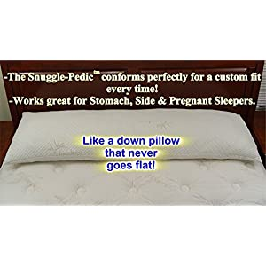 Snuggle-Pedic Ultra-Luxury Bamboo Combination Shredded Memory Foam Full Body Pillow With Kool-Flow Breathable Cooling Hypoallergenic Pillow Outer Fabric - Fits 20 x 54 inch Body Pillow Cases & Covers