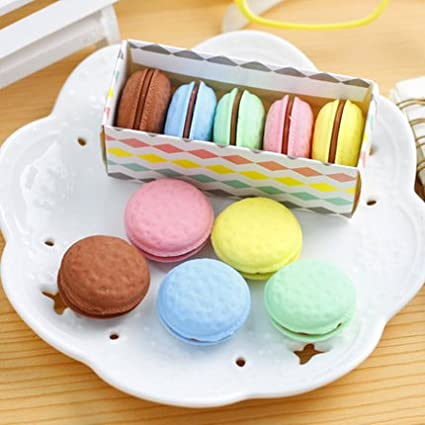 Cute creative stationery school supplies for children prizes macaroons eraser pencil eraser 4B Random color The Best U Want