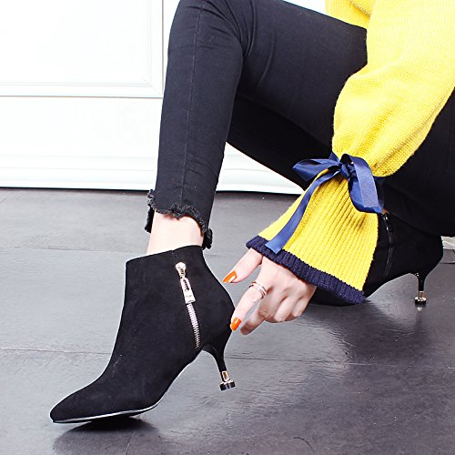 KHSKX-Una Hembra De Zapatos Con Delgado Y Corto Botas De Invierno Coreano Todo Partido Suede Zapatos De Tacon Alto Un Gato Con Botas De Desnudo black
