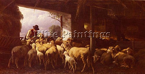 MALI CHRISTIAN FRIEDRICH FEEDING SHEEP ARTIST PAINTING OIL CANVAS REPRO ART DECO 16x32inch MUSEUM QUALITY by Elite-Paintings