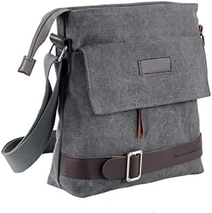 Mfeo Unisex Retro Canvas Messenger Bag Crossbody Bag Shoulder Bag For iPad