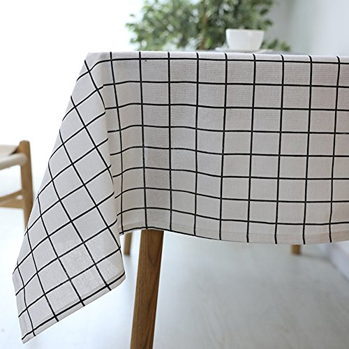 Checkered Cotton Picnic Tablecloth, Plaid Rectangle Dining Table Cloths Waterproof Table Cover for Kitchen, Halloween, Dinner Parties, BBQs and Everyday Use (140x250cm(55.1inch98.4inch), White) - Picnic Table Patterns