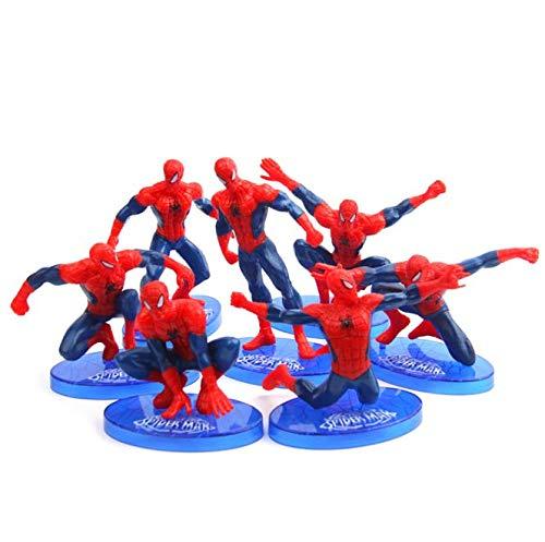 - Spiderman Action Figure Set | 7 Pcs Cake Topper | Party Favor Supplies