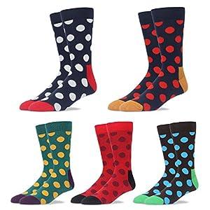Mens Dress Socks Polka-dotted Pattern Formal Business Mid Calf- Toe Heel REINFORCED Gift Boxed (BSK27- Polka-dotted, US Men Size 10.5-14/EU 44.5-49)
