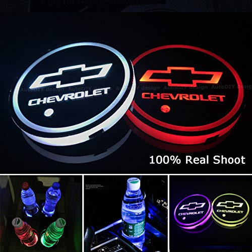 AutoDIY Led Car Logo Cup Lights up Holder USB Charging Waterproof Bottle Drinks pad 7 Colors Changing Atmosphere Lamp mat Cars for Luminous Coasters 2PCS (for Chevrolet) ()