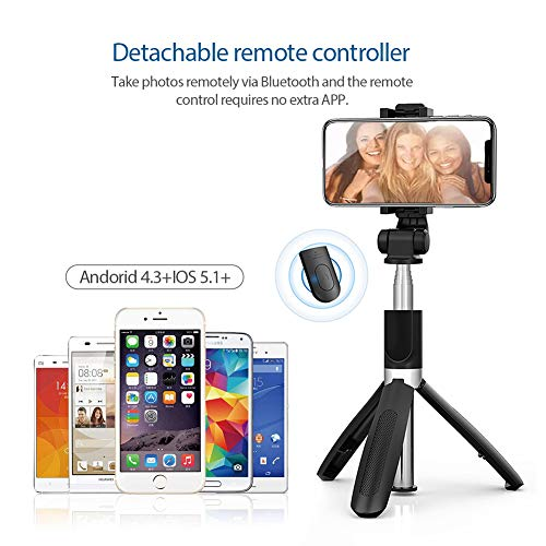 JOYSEUS Selfie Stick, Extendable Selfie Stick with Tripod Stand and Detachable Wireless Bluetooth Remote, Ultra Compact Selfie Stick for Mobile and All Smart Phones – Black