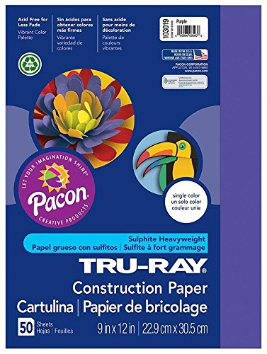 Pacon Tru-Ray Construction Paper, 9-Inches by 12-Inches, 50-Count, Purple - Purple Ray