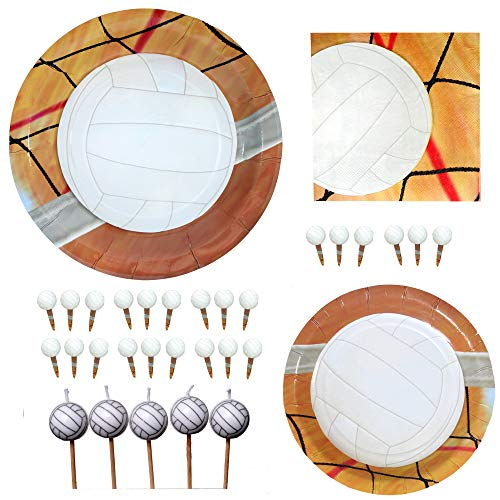 Havercamp Volleyball Party Set | Dinner & Dessert Plates, Luncheon Napkins, Candles, Picks | Great for Sports Themed Event, Volleyball Party, Varsity Reunion, Birthday Party ()