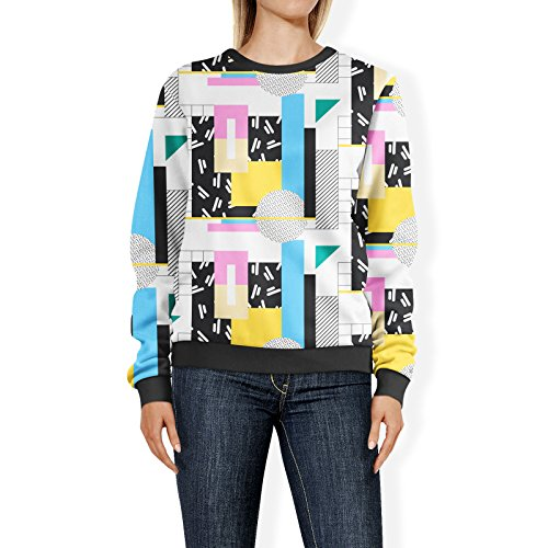 80s Pattern Polyester Sweatshirt for Women. Sizes from XS to 3XL
